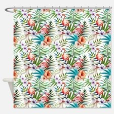 Watercolor Tropical Flamingos Shower Curtain