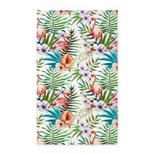 Watercolor Tropical Flamingos Area Rug