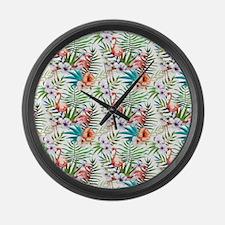 Watercolor Tropical Flamingos Large Wall Clock