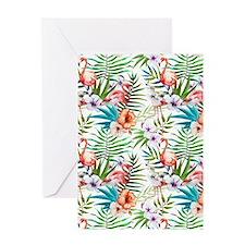 Watercolor Tropical Flamingos Greeting Card