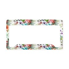 Watercolor Tropical Flamingos License Plate Holder