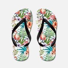 Watercolor Tropical Flamingos Flip Flops