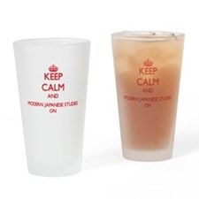 Keep Calm and Modern Japanese Studi Drinking Glass