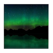 Northern Lights over mountains and wa Tile Coaster