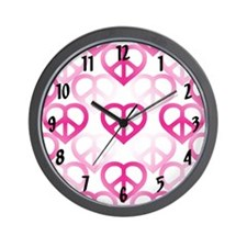 Pink Peace Hearts Wall Clock