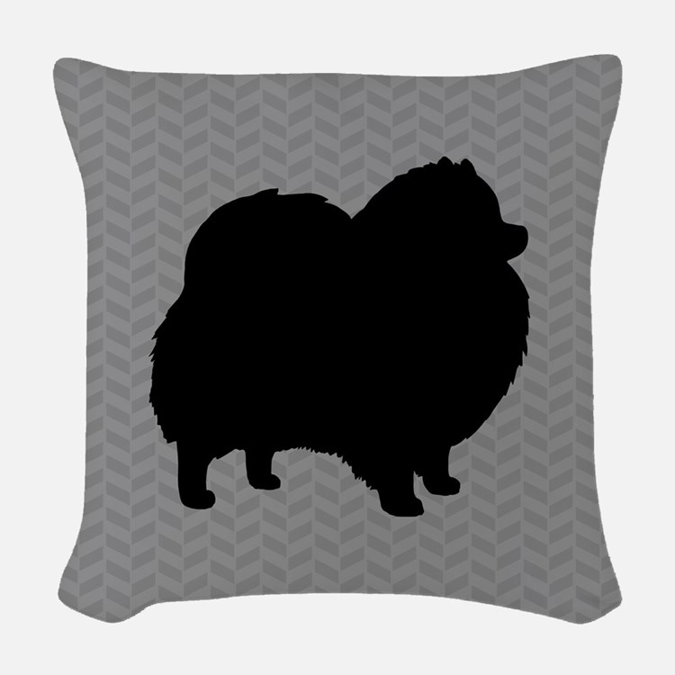 Pomeranian Silhouette Woven Throw Pillow