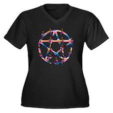 Rainbow and  Women's Plus Size V-Neck Dark T-Shirt
