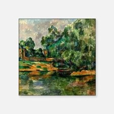 "Cezanne - Riverbank Square Sticker 3"" x 3"""