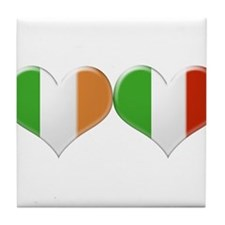 Irish and Italian Heart Flags Tile Coaster