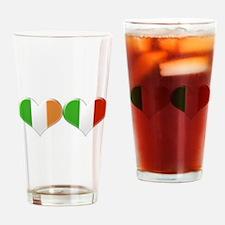 Irish and Italian Heart Flags Drinking Glass