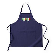 Irish and Italian Heart Flags Apron (dark)