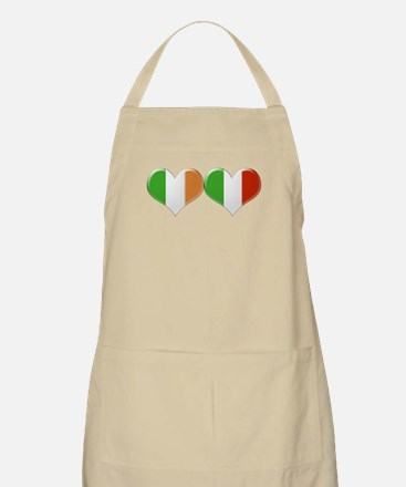 Irish and Italian Heart Flags Apron