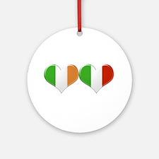 Irish and Italian Heart Flags Ornament (Round)