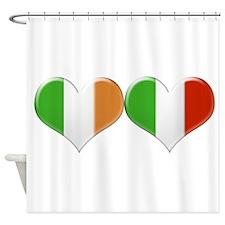 Irish and Italian Heart Flags Shower Curtain