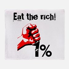 Funny Eat The Rich Occupy Throw Blanket