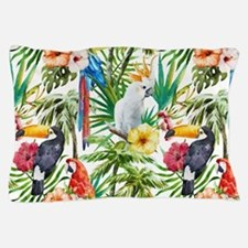 Tropical Flowers and Macaw Pillow Case