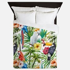 Tropical Flowers and Macaw Queen Duvet