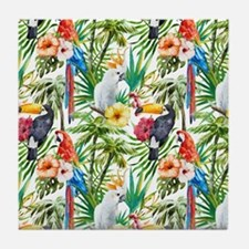 Tropical Flowers and Macaw Tile Coaster