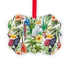 Tropical Flowers and Macaw Ornament