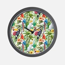 Tropical Flowers and Macaw Wall Clock