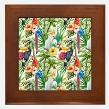Tropical Flowers and Macaw Framed Tile