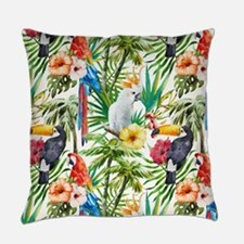 Tropical Flowers and Macaw Everyday Pillow