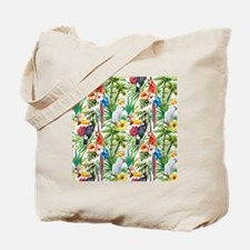 Tropical Flowers and Macaw Tote Bag