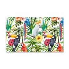 Tropical Flowers and Macaw Car Magnet 20 x 12