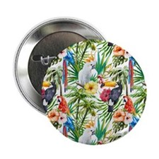 """Tropical Flowers and Macaw 2.25"""" Button (100 pack)"""