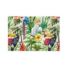 Tropical Flowers and Macaw Rectangle Magnet