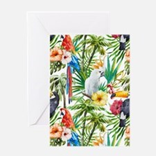 Tropical Flowers and Macaw Greeting Card