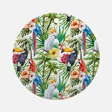 Tropical Flowers and Macaw Ornament (Round)