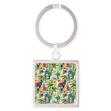 Tropical Flowers and Macaw Square Keychain