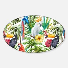 Tropical Flowers and Macaw Decal