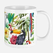 Tropical Flowers and Macaw Mug