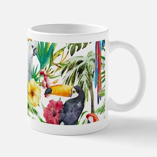 Tropical Flowers and Macaw Mug
