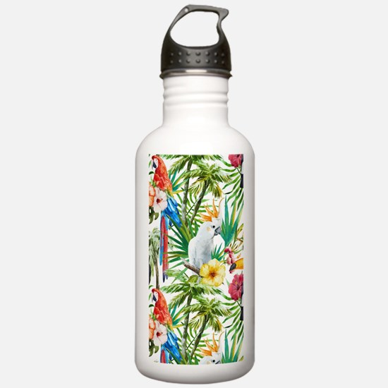 Tropical Flowers and M Water Bottle