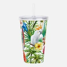 Tropical Flowers and M Acrylic Double-wall Tumbler