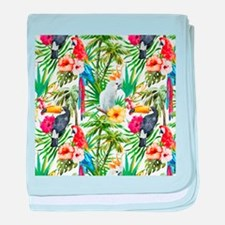 Tropical Flowers and Macaw baby blanket