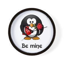 Be Mine Penguin Wall Clock