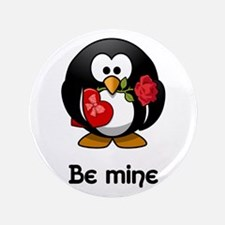 Be Mine Penguin Button