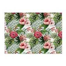 Watercolor Tropical Flowers Pattern 5'x7'Area Rug