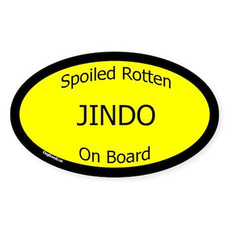Spoiled Jindo On Board Oval Sticker