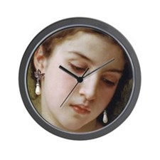 Woman with pearl earrings added Wall Clock