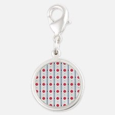 Red Dot Silver Round Charm