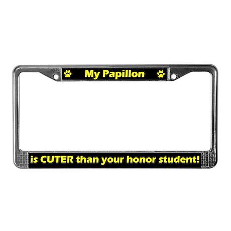 Honor Student Papillon License Plate Frame