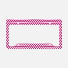 Hot Pink Chevron License Plate Holder