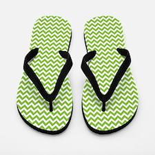 Lime Green Chevron Flip Flops