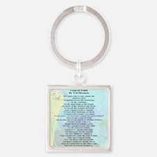 A Leap of Faith Prayer Square Keychain