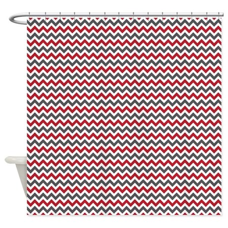 Red Gray Chevron Shower Curtain By 1512blvd
